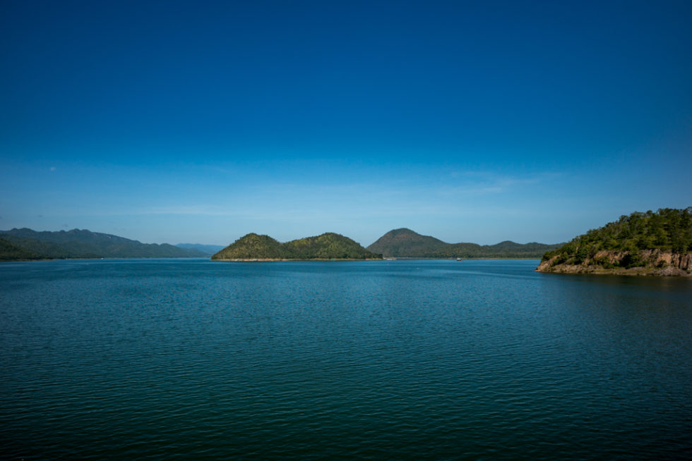 artificial lake from water power plant in thailand