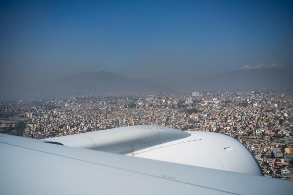 Kathmandu, Nepal, december 7th 2016: view during landing at airp