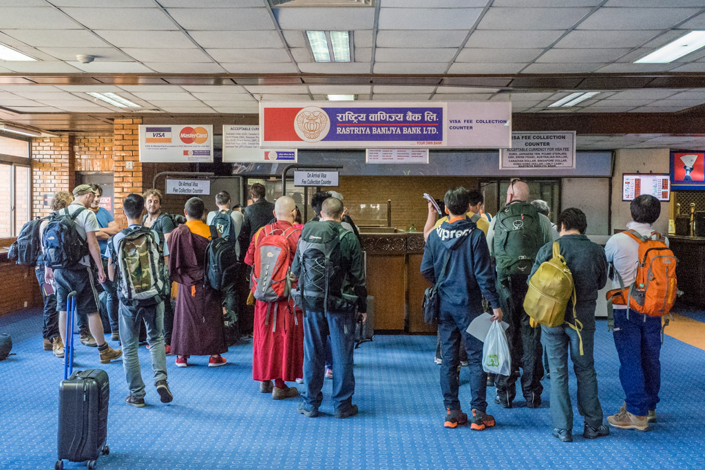 Kathmandu, Nepal, december 7th 2016: visa on arrival at airport