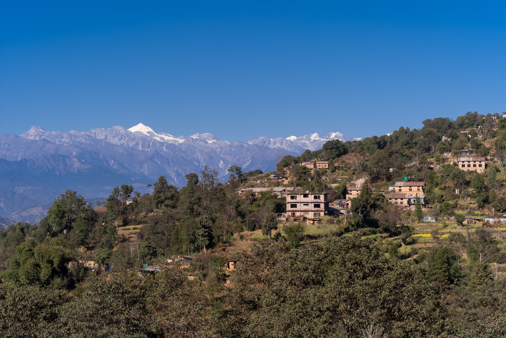 nagarkoth village with view on himalaya