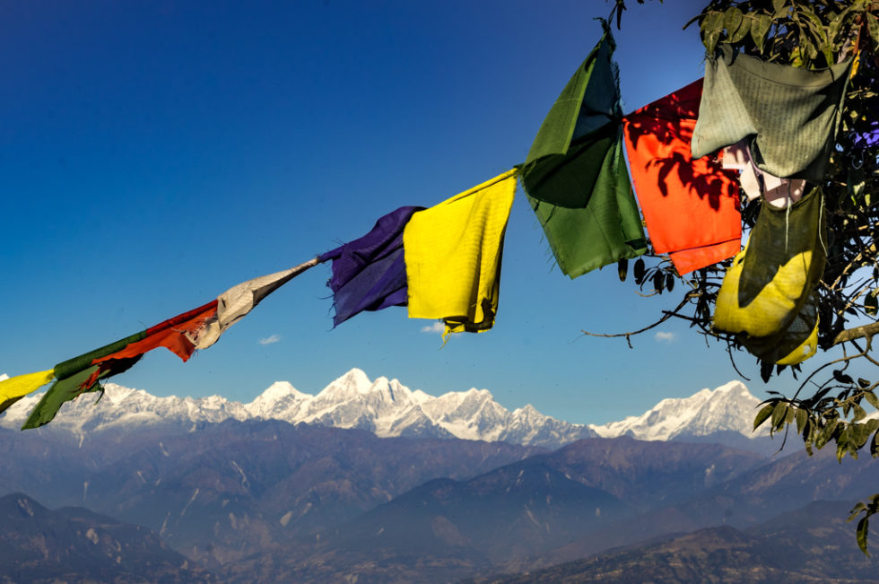 mount everest seen from Nagarkot with prayer flags