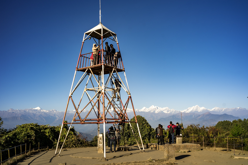 Nagarkot, Nepal, december 7th 2016: view point tower with sight