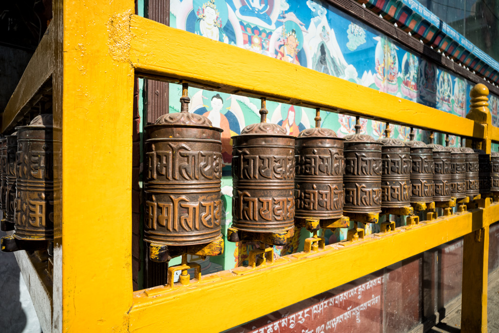 prayer wheels in nepal temple