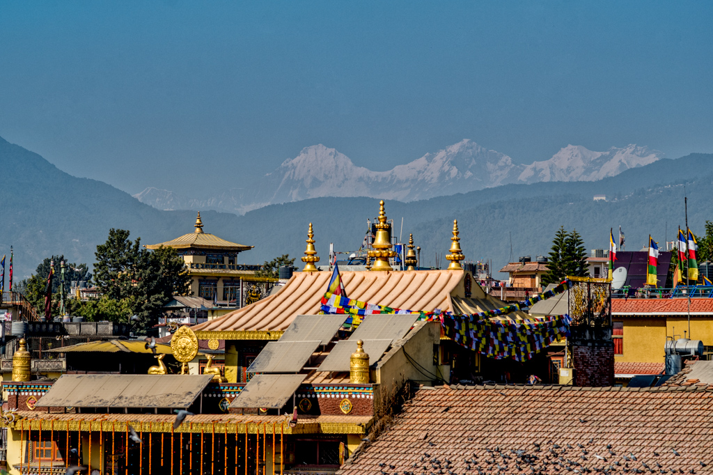 temple with himalaya in backround